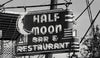 Half Moon Bar, Neon Sign, New Orleans Louisiana, Black and White Photography - Black and White Photography by Andy Moine