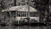 Fishing Camp, Honey Island Swamp, New Orleans Louisiana, Black and White Photograph - Black and White Photography by Andy Moine