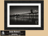 Huntington Beach Pier, California, Black and White Photo, Framed Print