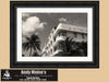 Miami Beach Art Deco Buildings, South Beach Miami, Black and White Photo, Framed Print