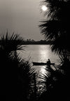 Fishing at Mosquito Lagoon, Cape Canaveral Florida, Sunset, Black & White Photography - Black and White Photography by Andy Moine