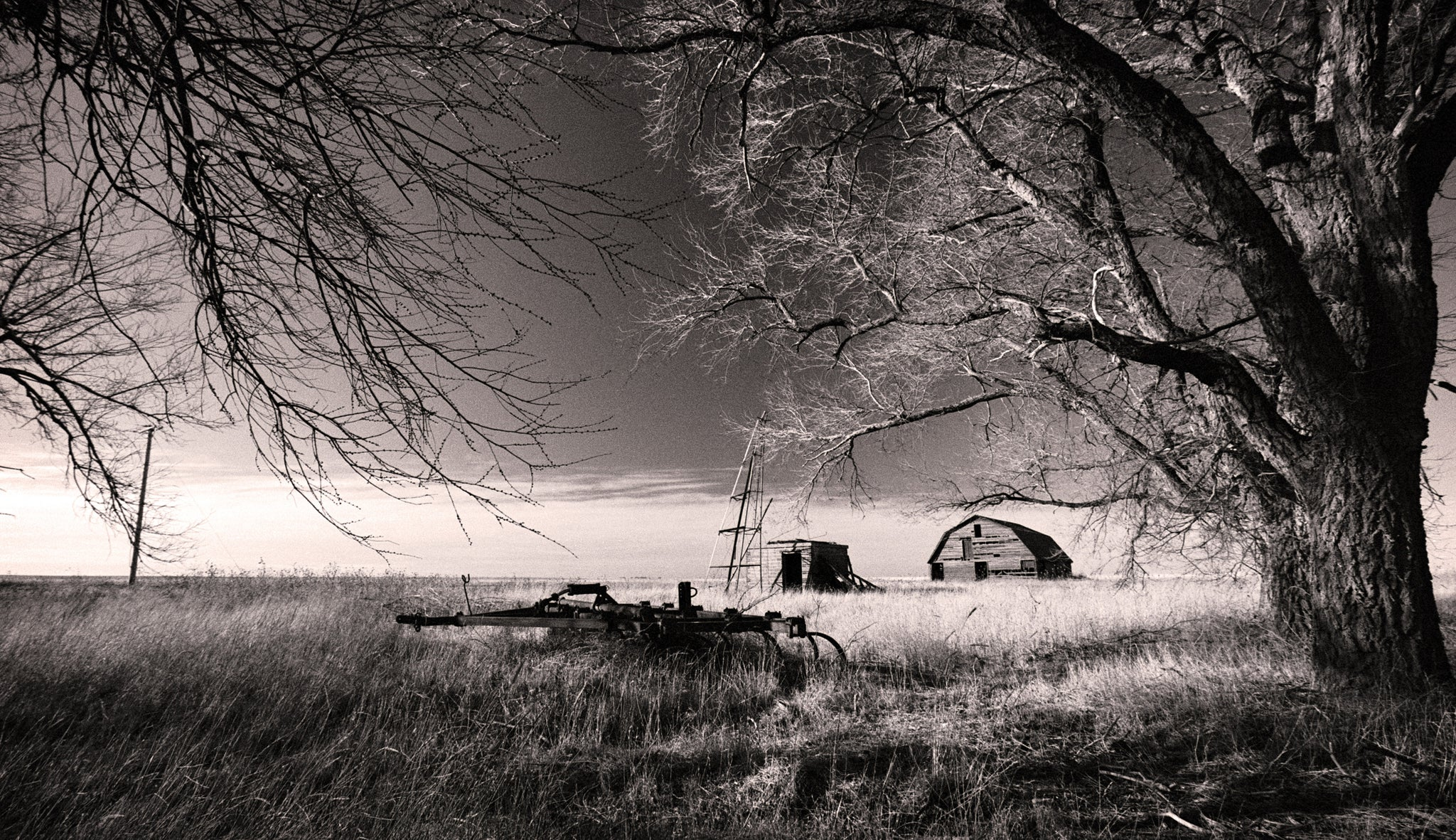 Abandoned farm oklahoma countryside black and white photograph