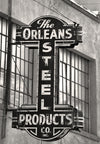 New Orleans French Quarter, New Orleans Steel Products Co Sign, Black and White Photograph - Black and White Photography by Andy Moine