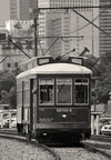 New Orleans Riverfront Streetcar, French Quarter, Black & White Photograph - Black and White Photography by Andy Moine