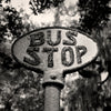 Black & White Throw Pillow - Old Vintage Bus Stop Sign, Savannah Georgia