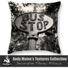 Designer Black & White Throw Pillow - Old Vintage Bus Stop Sign, Savannah Georgia