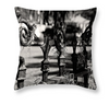 Black & White Throw Pillow - Decorative Iron Fence, Spanish Moss, New Orleans, Louisiana - Black and White Photography by Andy Moine