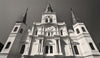 St Louis Cathedral, Jackson Square, New Orleans Louisiana, Black and White Photo