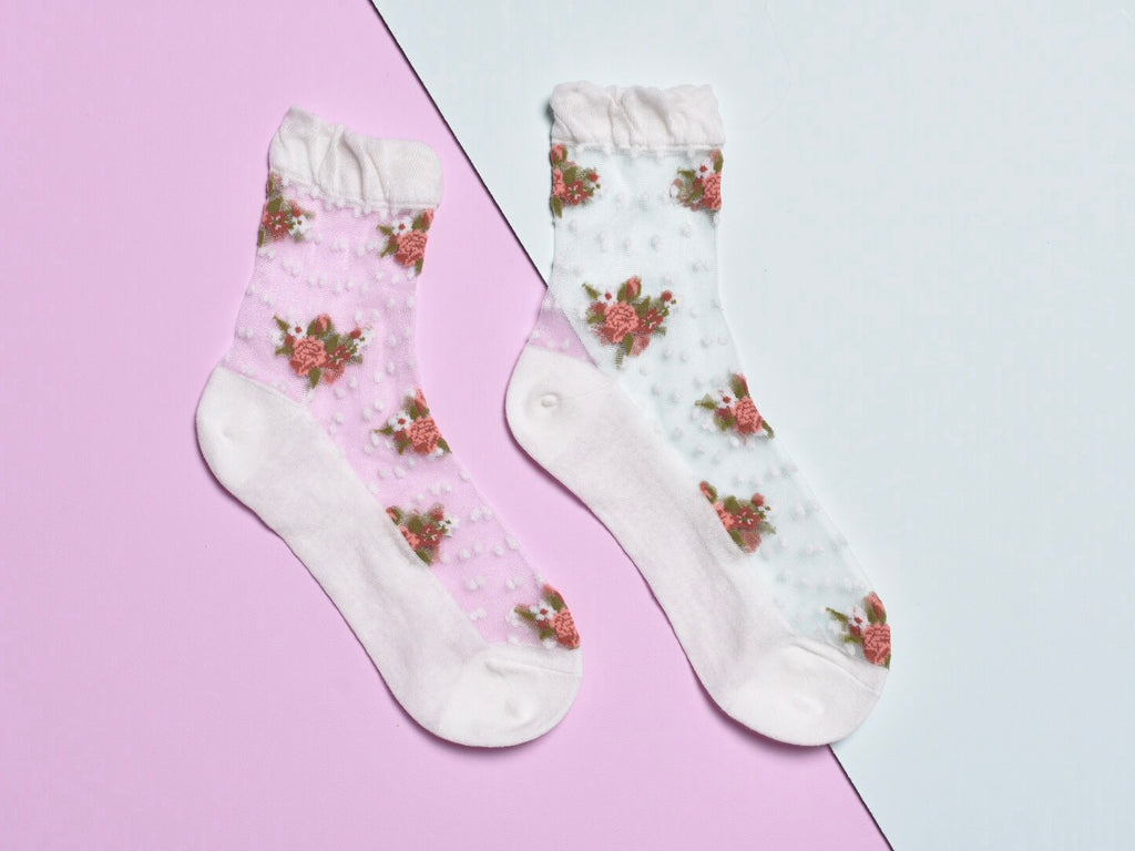 FLOWER DOT SOCKS, WHITE