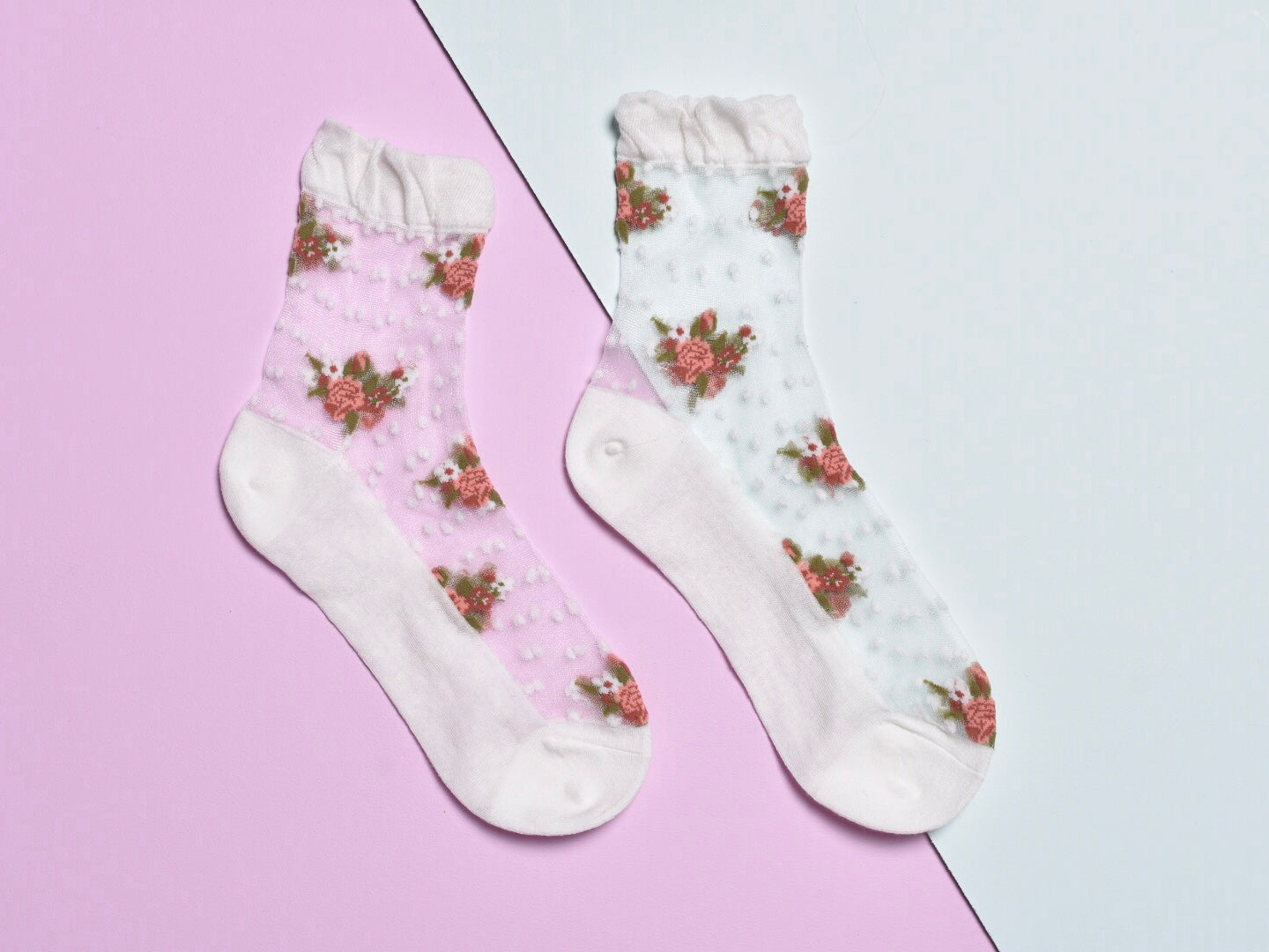Sheer flower ankle socks, white