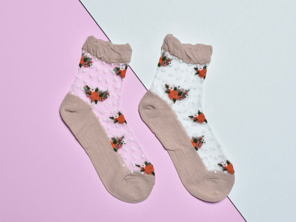 FLOWER DOT SOCKS, CAMEL