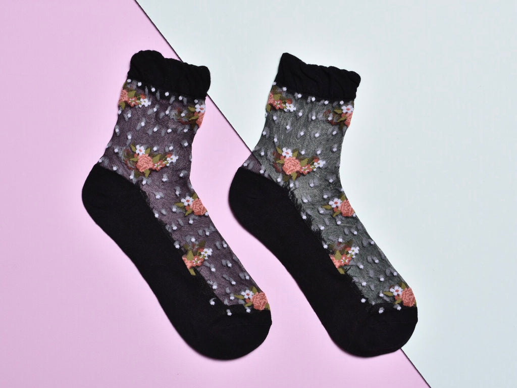 FLOWER DOT SOCKS, BLACK