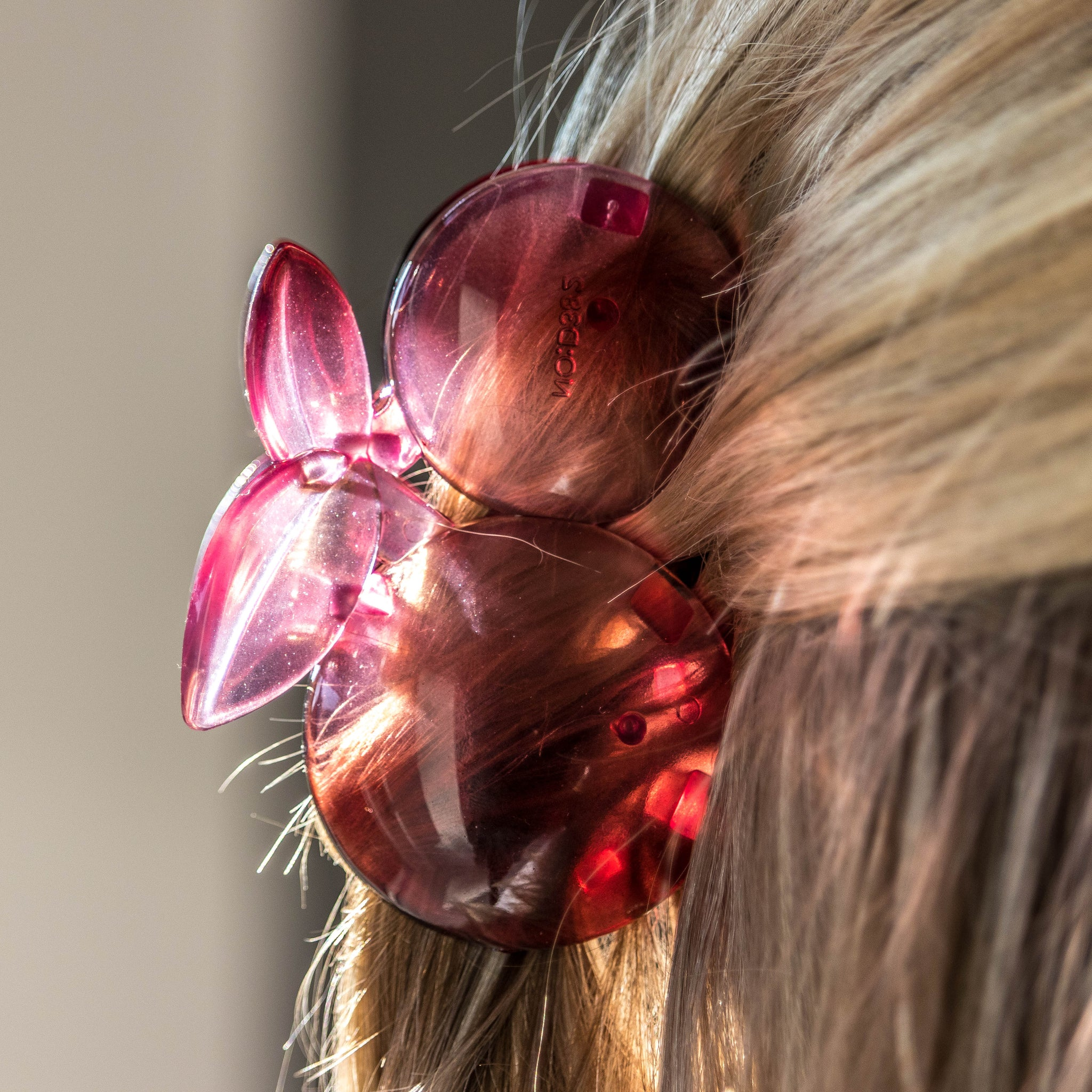 CHERRY HAIR CLIP, PINK ROSE