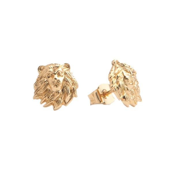 LION HEAD EARRINGS, GOLD
