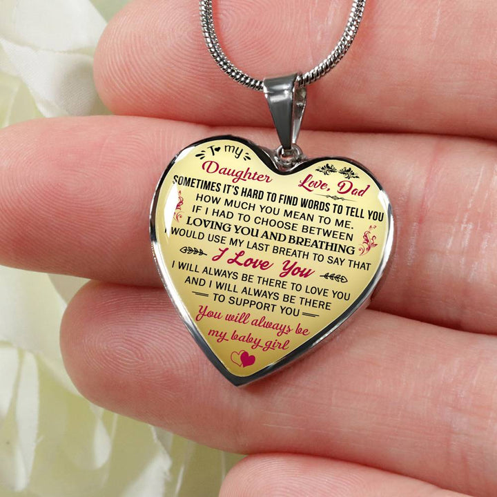 Father and Daughter Necklace Heart Gift from Daddy To My Daughter Love Dad