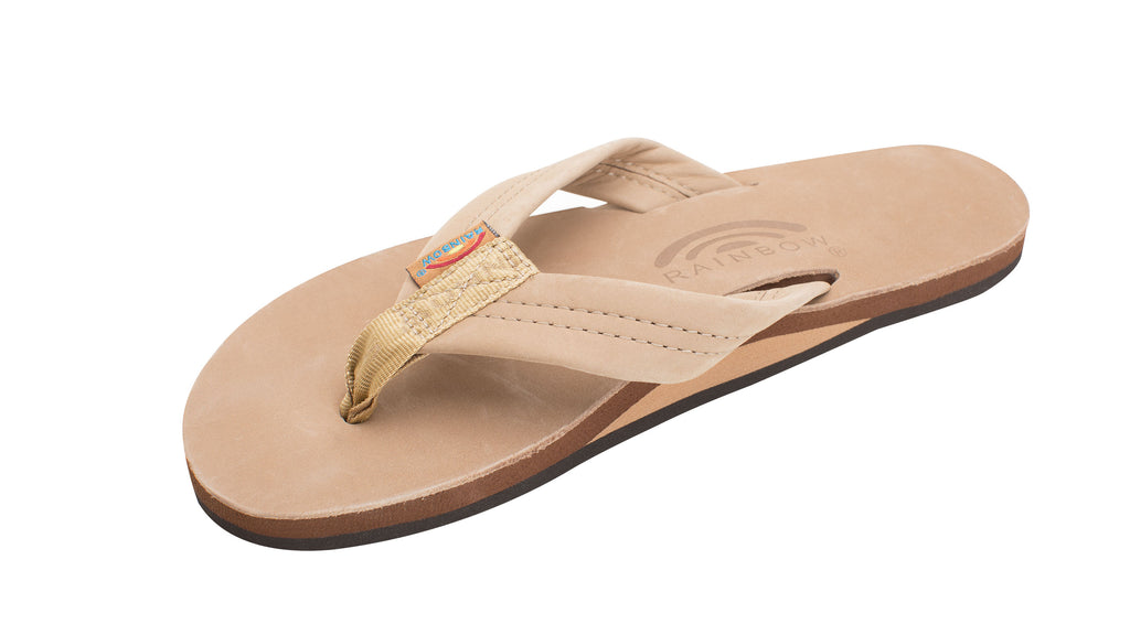 "Rainbow Womens Single Layer Arch Support Premier Leather with 1"" Strap"