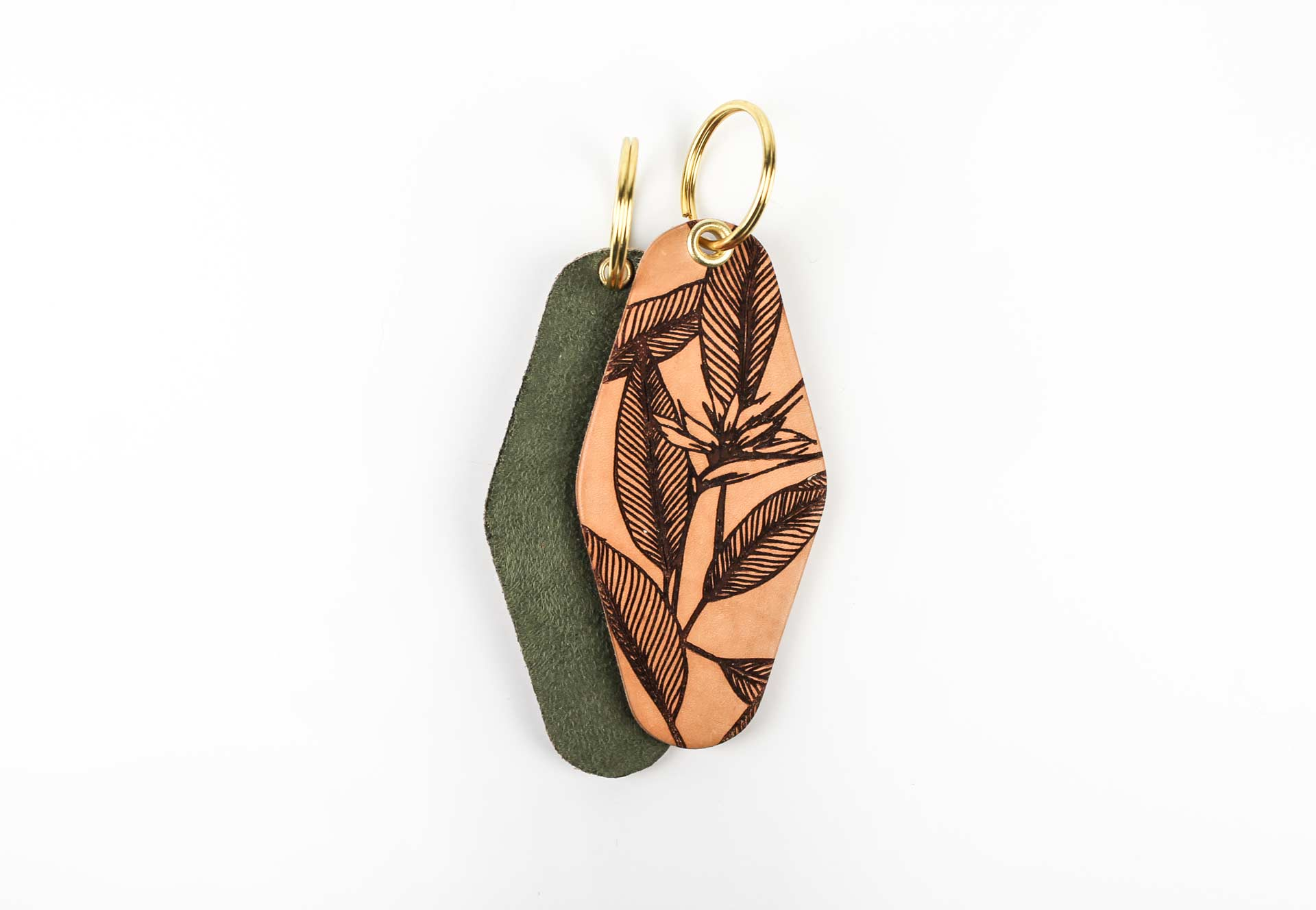 TROPICAL LEAVES Leather & Velvet Keychain