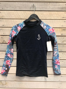 Womens Long Sleeve Floral Swim Shirt