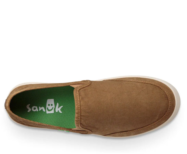 Sanuk Mens Vagabond Slip on Sneaker - Tobacco