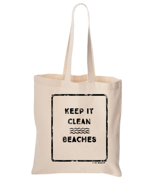 Keep it Clean Beaches Cotton Canvas Reusable Tote