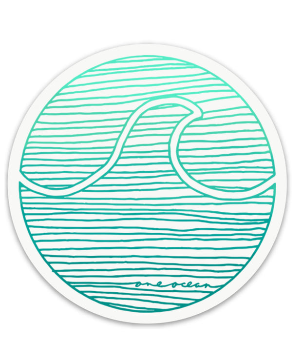 One Ocean Lines Wave Sticker