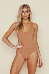 Low Back Moderate Coverage One Piece - Caramel