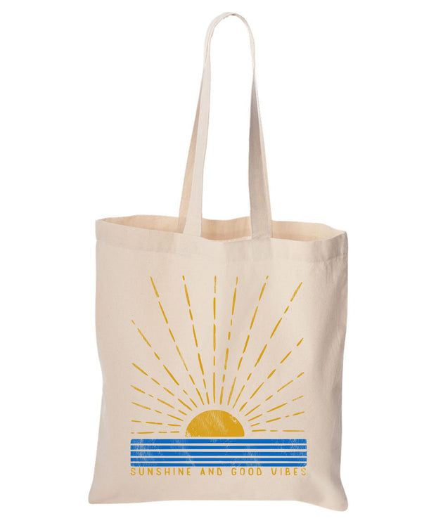 Sunshine and Good Vibes Cotton Canvas Reusable Tote