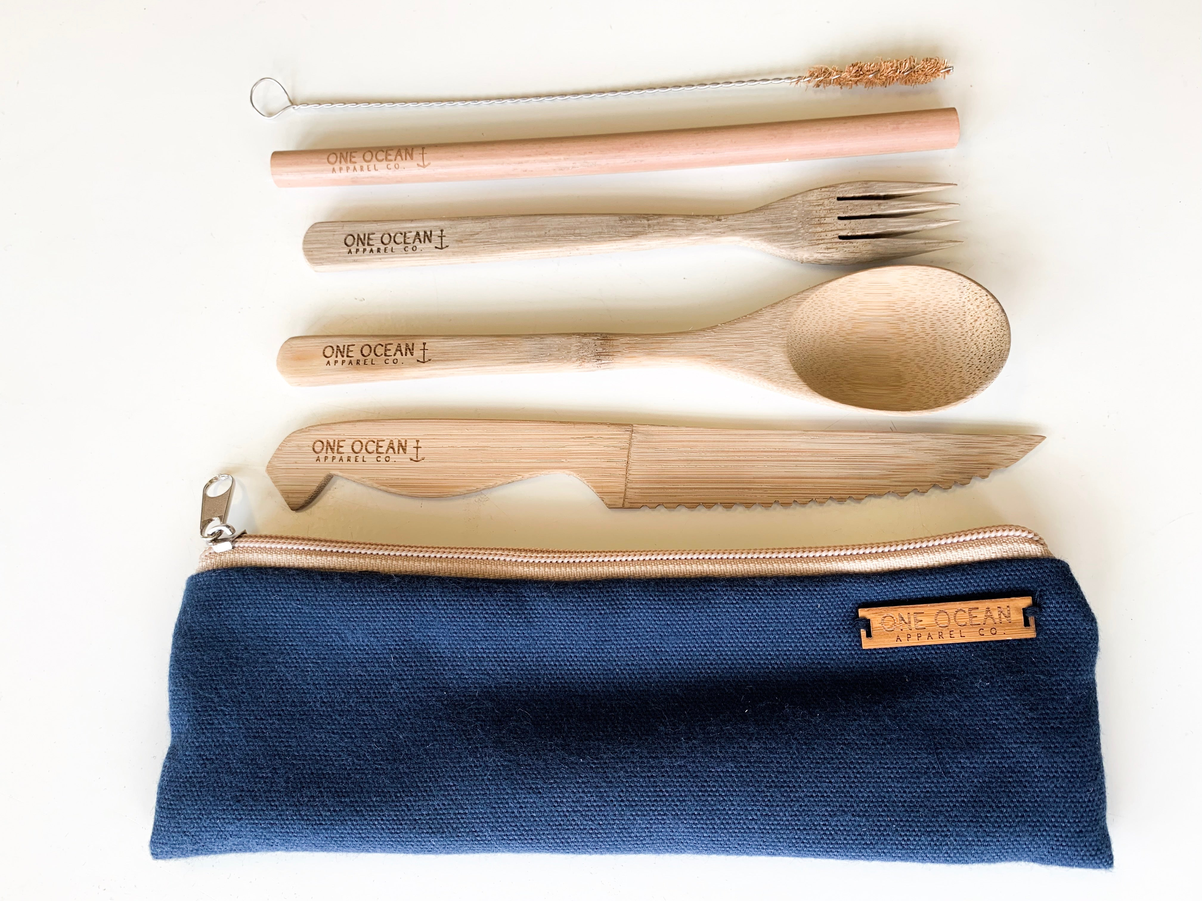 One Ocean Bamboo Straw and Utensil Set