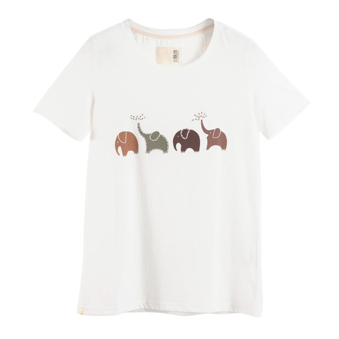 Toyouth Summer Women T shirt Elephant Animal Printed Loose Short sleeve Harajuku Style Casual T-shirt Girl Casual Tops