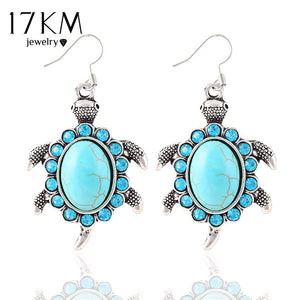 Turquoise Crystal Turtle Earrings