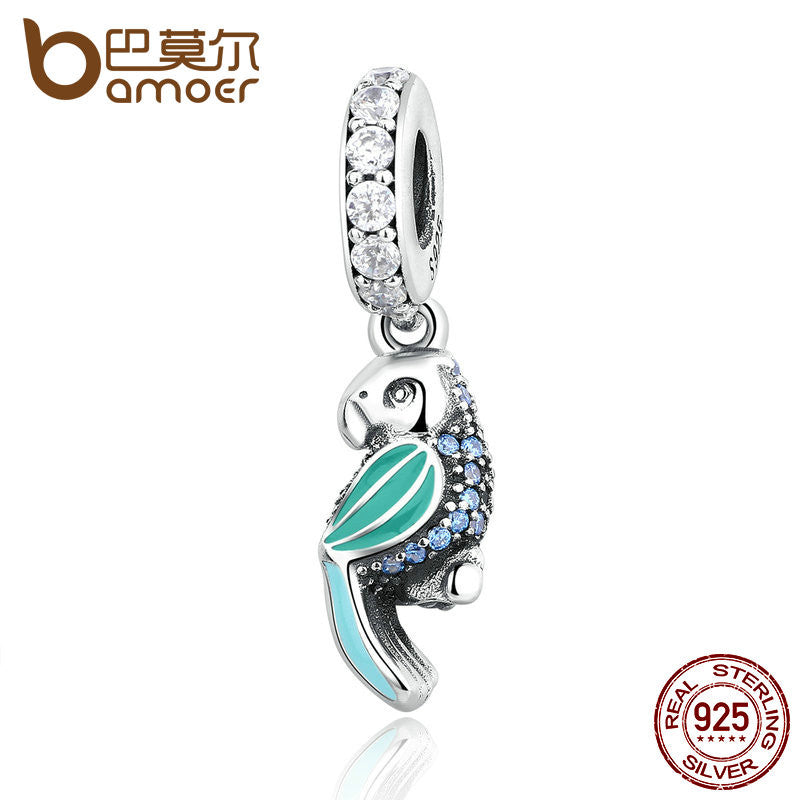 BAMOER 925 Sterling Silver Tropical Parrot, Mixed Enamels, Teal & Clear CZ Charms fit  Bracelets Women Accessories PAS346