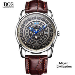 Swiss - Luxury Mayan Calendar Dial Watch - 4 Colors