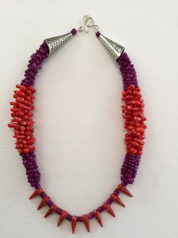 Red and Purple Kumihimo Necklace