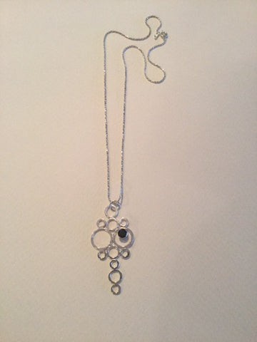 Silver Pendant Necklace with 12 Circles