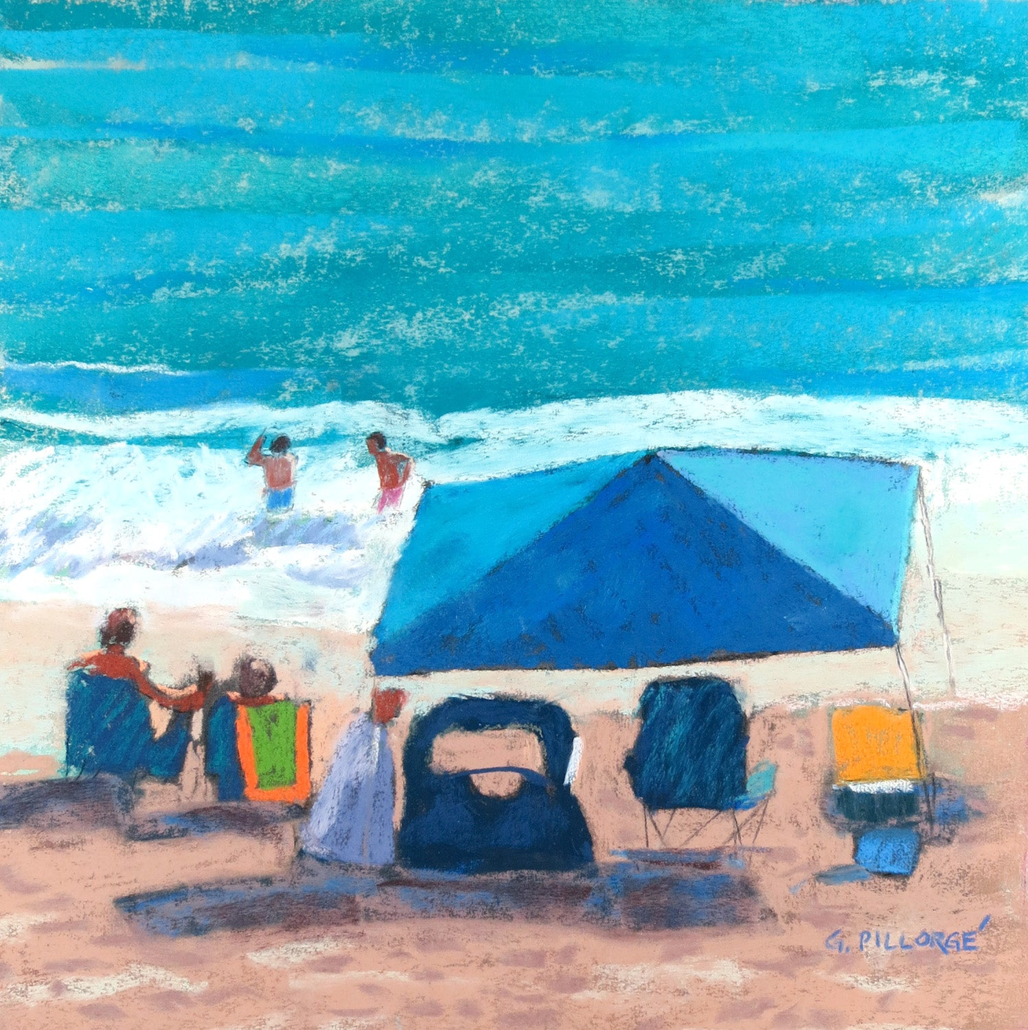 Fun Day at the Beach, -  Pastel,  12 X 12