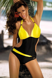 Crochet Monokini-One Piece Bikini Black Yellow