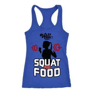 Will Squat for Food Racerback Tank Top