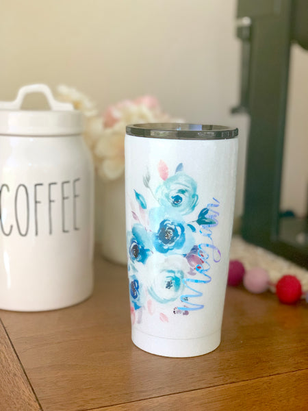 Floral Glitter Tumblers