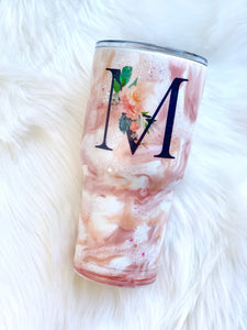 Floral Initial Marbled tumbler
