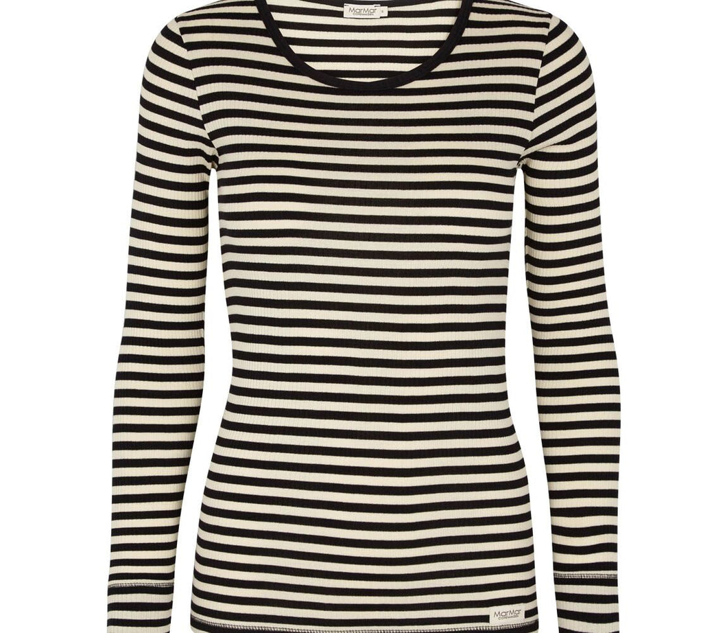 Women's Striped Black Long Sleeve Shirt