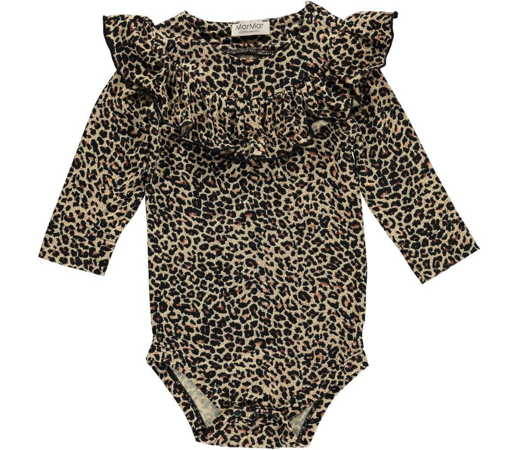 Long Sleeve Leopard Romper with Ruffle