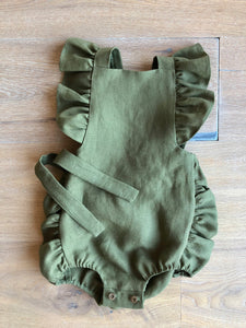Green Frilled Strap Romper