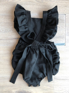 Black Frilled Strap Romper
