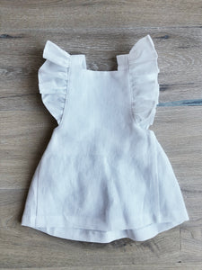 Frilled Strap White Linen Dress