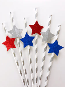 Patriotic Star Straws