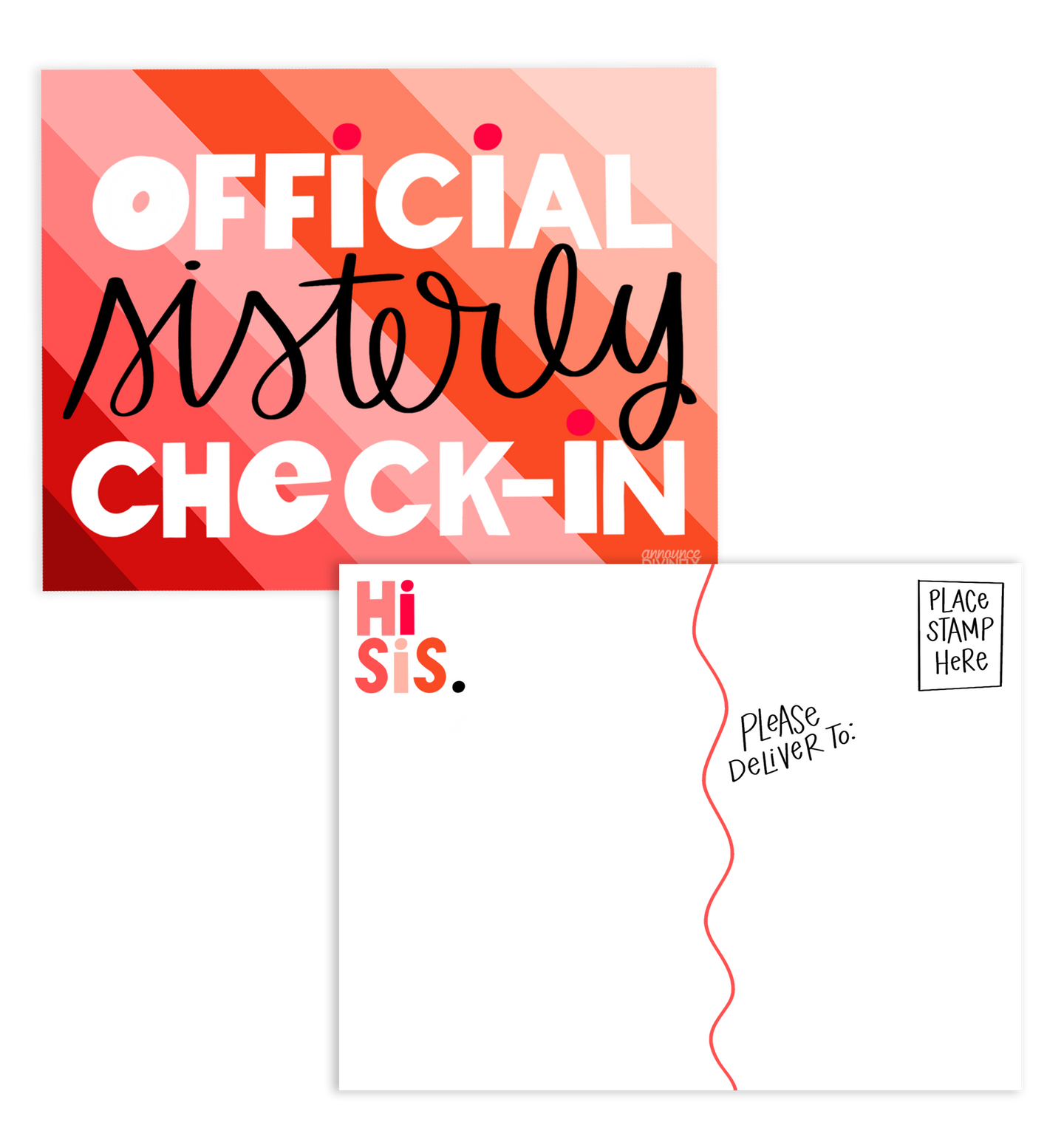 Sisterly Check-In Postcards