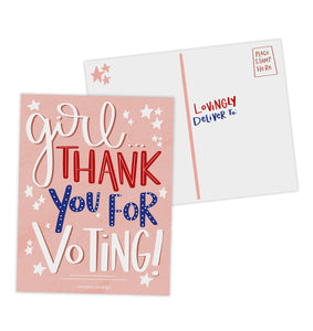 Girl Thank You for Voting Postcards