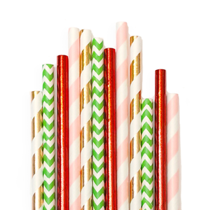Rosy Holiday Paper Straws
