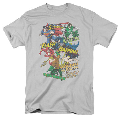 Justice League Justice Collage Retro T-Shirt