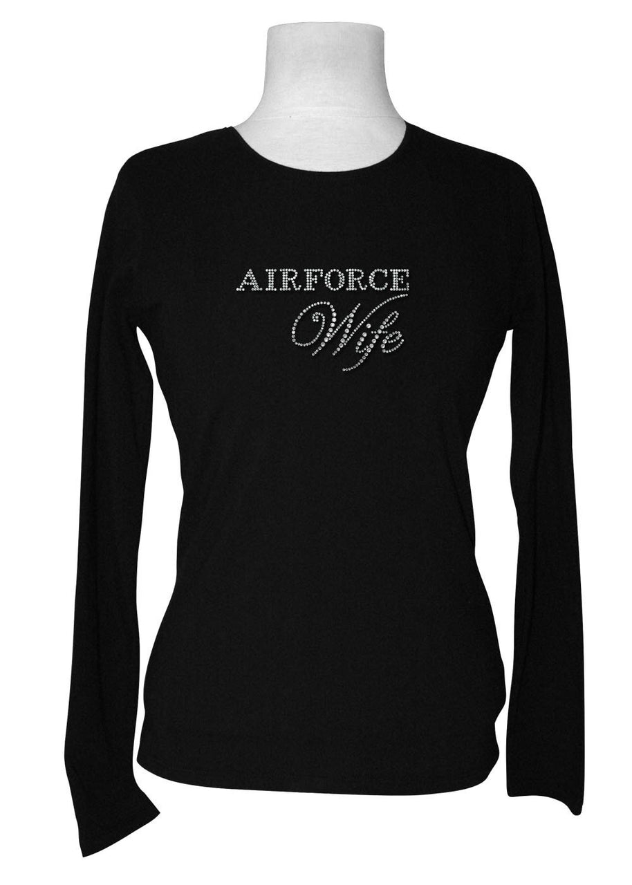 Air Force Wife Rhinestone Long Sleeve Tee